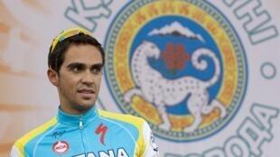 Le cycliste Alberto Contador, vainqueur du dernier Tour de France 2010, soupçonné de dopage. Photo du 18 septembre 2010