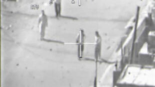 A screen shot of the leaked Pentagon video of a 2007 American helicopter attack in Baghdad that was aired on WikiLeaks