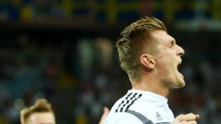 Toni Kroos vient de marquer le deuxième but pour l'Allemagne.