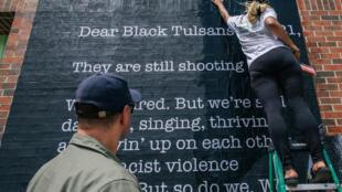 Dans le quartier Greenwood de Tulsa, le 28 mai 2021, avant la commémoration du 100e anniversaire du massacre.