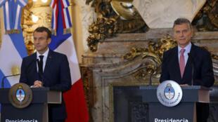 二十國峰會 法國總統馬克龍受到阿根廷總統馬克里聯合記者會