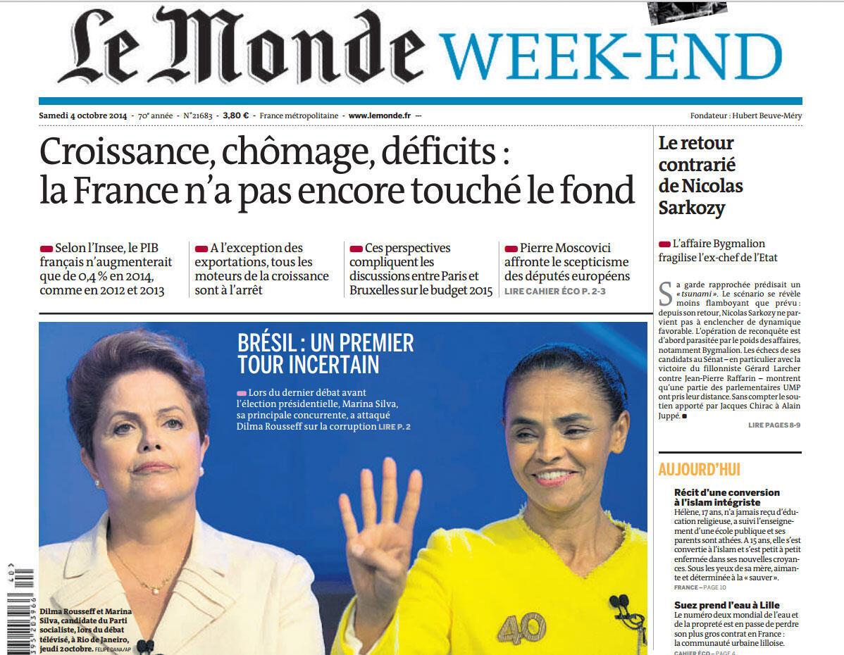 Um primeiro turno incerto é a manchete do jornal francês Le Monde de sábado, 4 de outubro de 2014.
