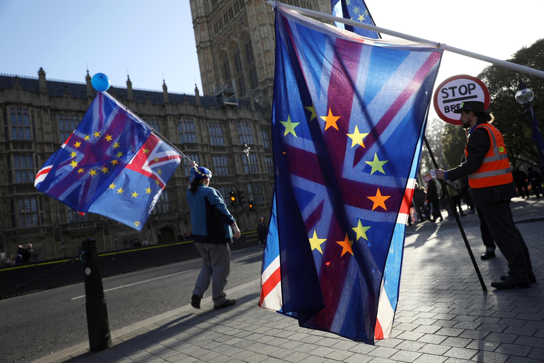 Ảnh minh họa: Phản đối Brexit trước Nghị Viện tại Luân Đôn. Ảnh 11/10/2018.