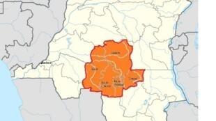 Ramani ya DRC ikionesha jimbo la Kasai ya kati