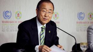 联合国秘书长潘基文在马拉喀什联合国气候大会上。2016-11-14
