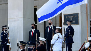 Israeli Defense Minister Benny Gantz (right) visits the Pentagon as US Defense Secretary Mark Esper (left) pledges to preserve Israel's Middle East military superiority
