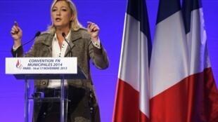 Marine Le Pen durante convenção da Frente Nacional (9/11/13).