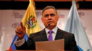 """تارک ویلیام ساب"""" دادستان کل ونزوئلا، در یک کنفرانس خبری در کاراکاس.  پنجشنبه ۵ بهمن/  ٢۵ ژانویه ٢٠۱٨"""