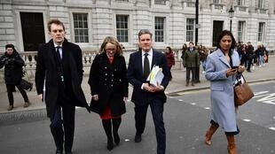 Labour's Brexit spokesman Keir Starmer (second from right) leaves the Cabinet office in central London on 4 April 4 2019.
