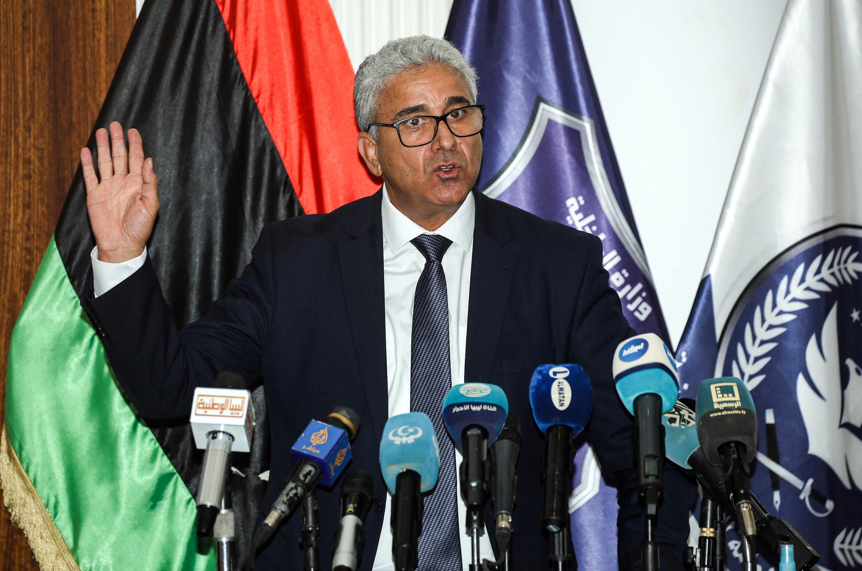 El ministro del Interior libio, Fathi Bachagha, durante una rueda de prensa en Trípoli, el 28 de julio de 2020
