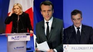 法國大選熱門三人:極右勒龐、前經濟部長馬克龍、右派菲永(從左到右)