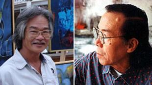 Nguyễn Đình Thuần (T) và Đinh Cường (P) trước tác phẩm của mình.