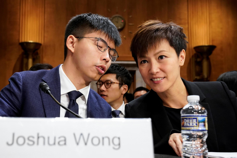 Ảnh minh họa :Hai nhà tranh đấu Hồng Kông Hoàng Chi Phong (Joshua Wong) và Hà Vận Thi (Denise Ho) trong buổi điều trần tại Quốc Hội Mỹ. Ảnh ngày 17/09/2019.