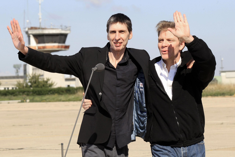 Stéphane Taponier au moment de sa libération, après avoir été près de 2 ans otage en Afghanistan