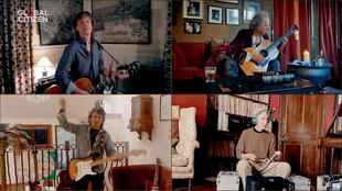"""The Rolling Stones get """"Together at home"""": Mick Jagger, Keith Richards, Ronnie Wood and Charlie Watts perform during Global Citizen's """"One World"""" online mega-concert, curated by Lady Gaga, April, 18, 2020."""