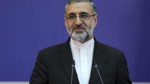 Gholamhossein Esmaili, le porte-parole de la Justice iranienne, lors de conférence de presse où il a annoncé la condamnation à mort d'un espion accusé de travailler pour la CIA le 4 février 2020.