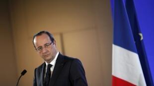 Le président François Hollande, en conférence de presse au Salon de l'Agriculture, à Paris, le 23 février 2013.