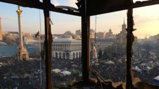 L'effervescence sur la place Maïdan. C'était le 20 février 2014, deux jours avant la fuite de Viktor Ianoukovitch.
