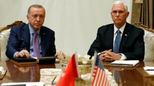 土耳其总统埃尔多安与美国副总统彭斯资料图片