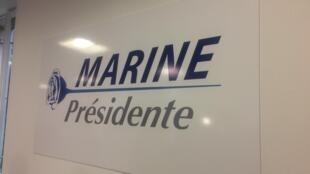 Dans les nouveaux locaux de campagne du Front national, en novembre 2016.
