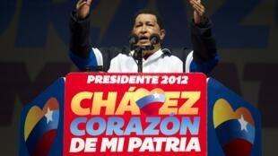 O presidente da Venezuela, Hugo Chávez, na última sexta-feira, dia 27 de julho, durante comício de sua campanha presidencial.