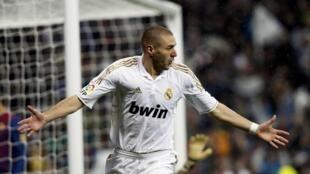 Karim Benzema a lokacin da ya zira kwallo wasan Clasico cikin dakika 22 tsakanin Real Madrid da Barcelona