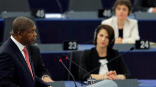 Le président angolais João Lourenço lors de son discours devant le Parlement européen, à Strasbourg, le 4 juillet 2018.