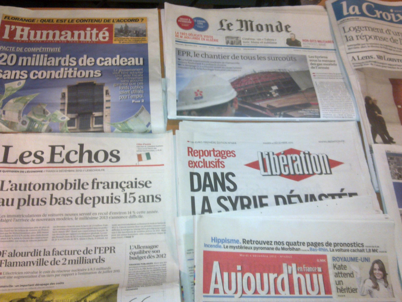 Diários franceses  04/12/2012