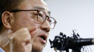 Le chef de l'activité mobile de Samsung, Koh Dong-jin, lors d'une conférence de presse le 2 septembre 2016.