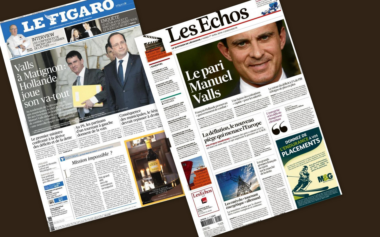 Capa dos jornais franceses Le Figaro e Les Echos desta terça-feira(1)