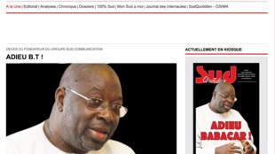 Une du site Sud Quotidien qui rend hommage à l'homme de presse Babacar Touré, le 27 juillet 2020.