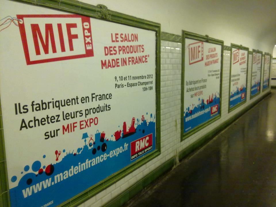 Afiches del Salón Made in France - MIF Expo,  Hecho en Francia, en el metro de París.
