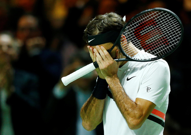 Roger Federer after defeating Robin Haase