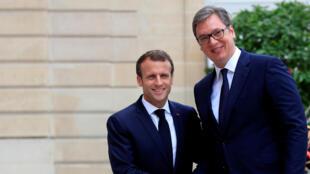 Le président français Emmanuel Macron a rencontré, mardi 17 juillet 2018, son homologue serbe Aleksandar Vucic au palais de l'Elysée à Paris.