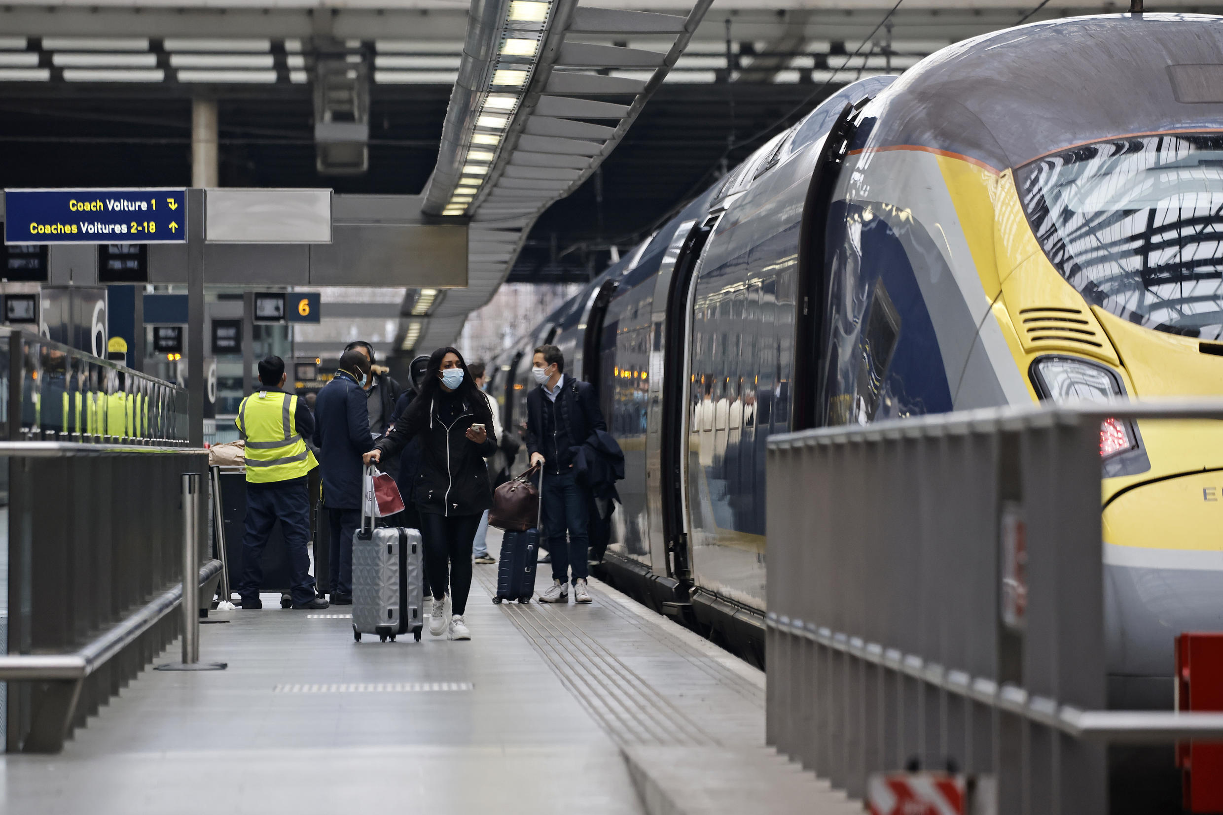 Passengers board a Eurostar train at St Pancras International station in London more than a week ago, in the runup to Britain withdrawing from the customs union.