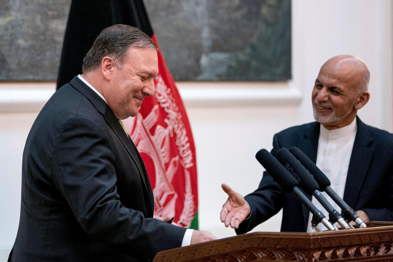 مایک پمپئو وزیر امور خارجۀ آمریکا در ملاقات با اشرف غنی رئیس جمهوری افغانستان در کابل