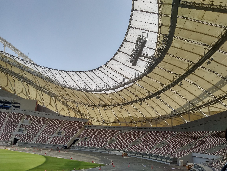 Un detalle del Estadio Khalifah que acogerá algunos partidos durante el mundial de fútbol de 2022. Doha, septiembre de 2017.