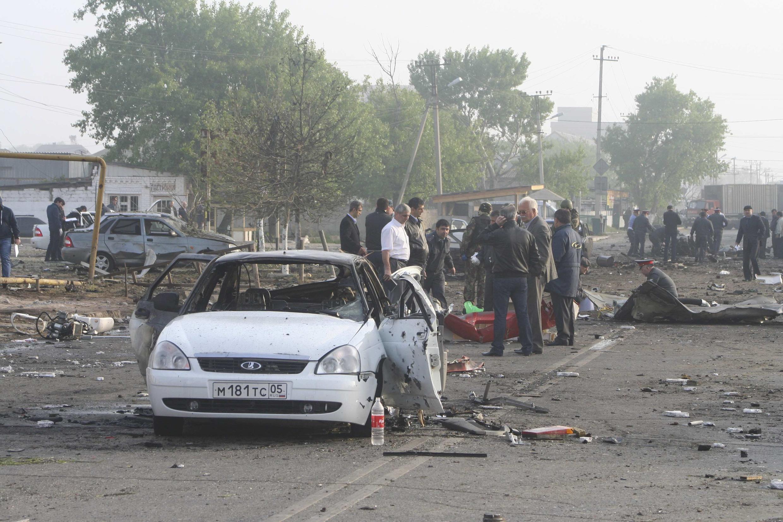 Снимок, полученный агентством Рейтер с места взрывов в Махачкале