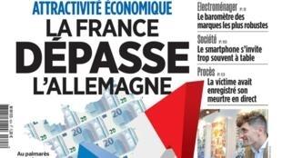 """Manchete do jornal Aujourd'hui en France: """"França ultrapassa a Alemanha em atratividade econômica""""."""