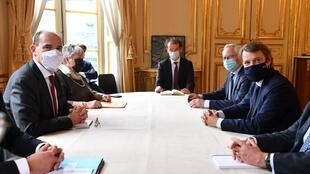 Mayor of Troyes François Baroin (centre R) meets with French PM Jean Castex (centre L) as part of Association of French mayors meeting in Paris, 30 sept 2020