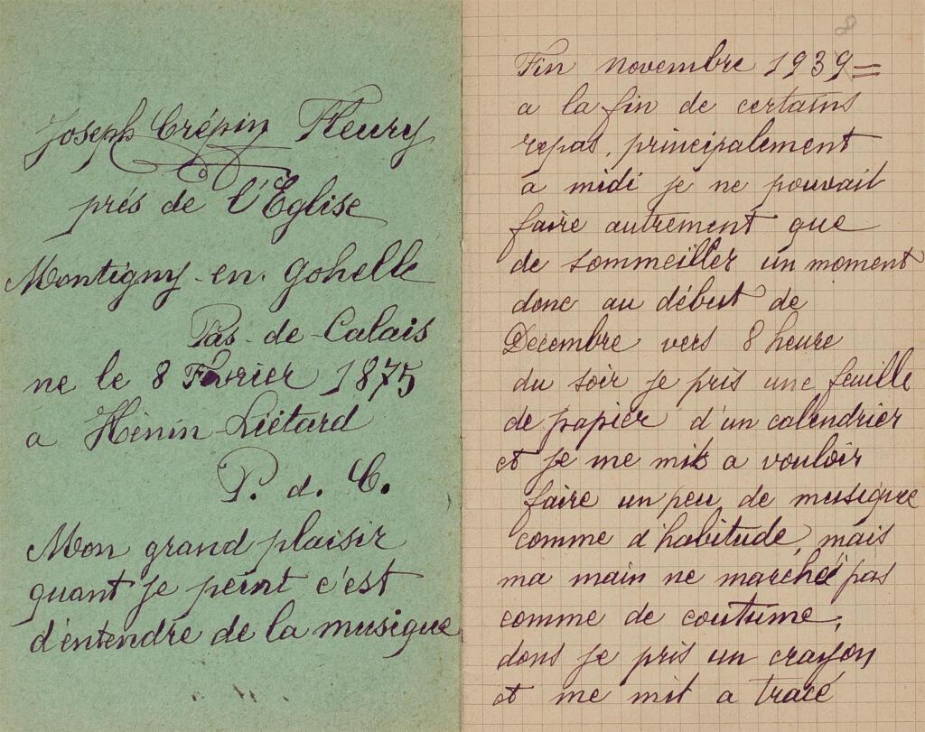 Fleury-Joseph Crépin, Caderno, tinta e lápis sobre papel, 15 × 19 cm,