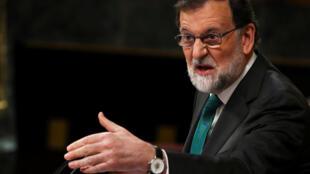 O primeiro-ministro da Espanha, Mariano Rajoy, no Parlamento em Madri, nesta quinta-feira (31), no inicio da reunião para debater uma moção de censura apresentada pelo Partido Socialista. 31/05/18