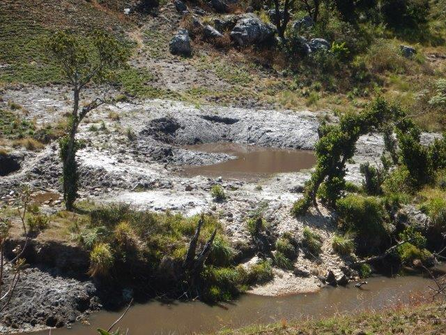 Miners' damage to a river bank in the heart of Chimanimani National Park.