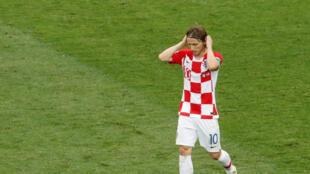 Luka Modric, le capitaine croate, après la défaite en finale de Coupe du monde face à la France, le 15 juillet 2018 à Moscou.