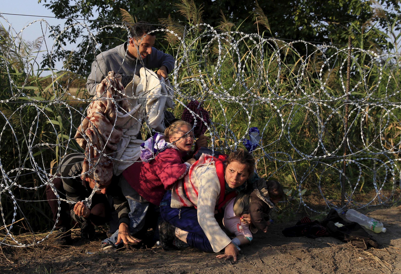 Des migrants traversent la frontière entre la Hongrie et la Serbie en passant sous des barbelés.