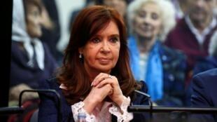 Cristina Kirchner durante el primer día del juicio, el 21 de mayo de 2019 en Buenos Aires.