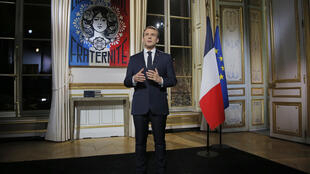 President Emmanuel Macron addresses the French nation on December 31, 2018