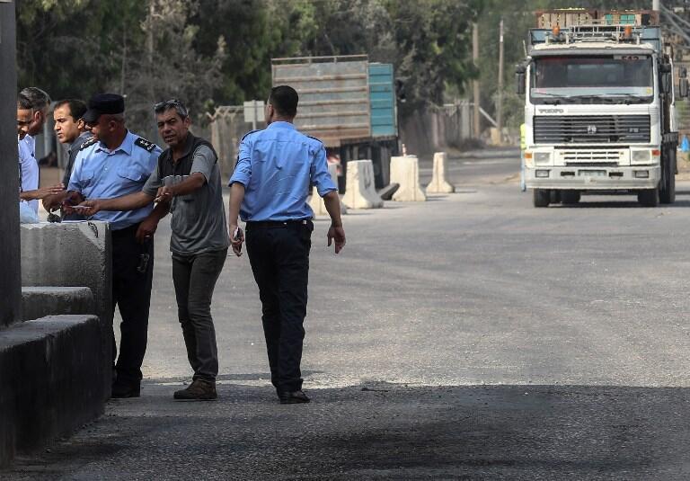 Passage de Kerem Shalom, principal point de passage des marchandises entrant dans Gaza, dans la ville de Rafah, au sud de la bande de Gaza.