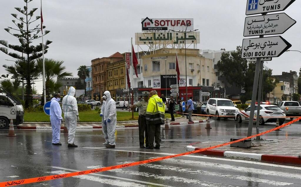 Tunisian forensic police investigate the site of an attack on Tunisian National Guard officers on September 6, 2020, in Sousse, south of the capital Tunis.