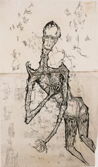 «Ecce homo I» (Sterbender Krieger), Gerhard Altenbourg, 1949. Altenburg, Lindenau-Museum.